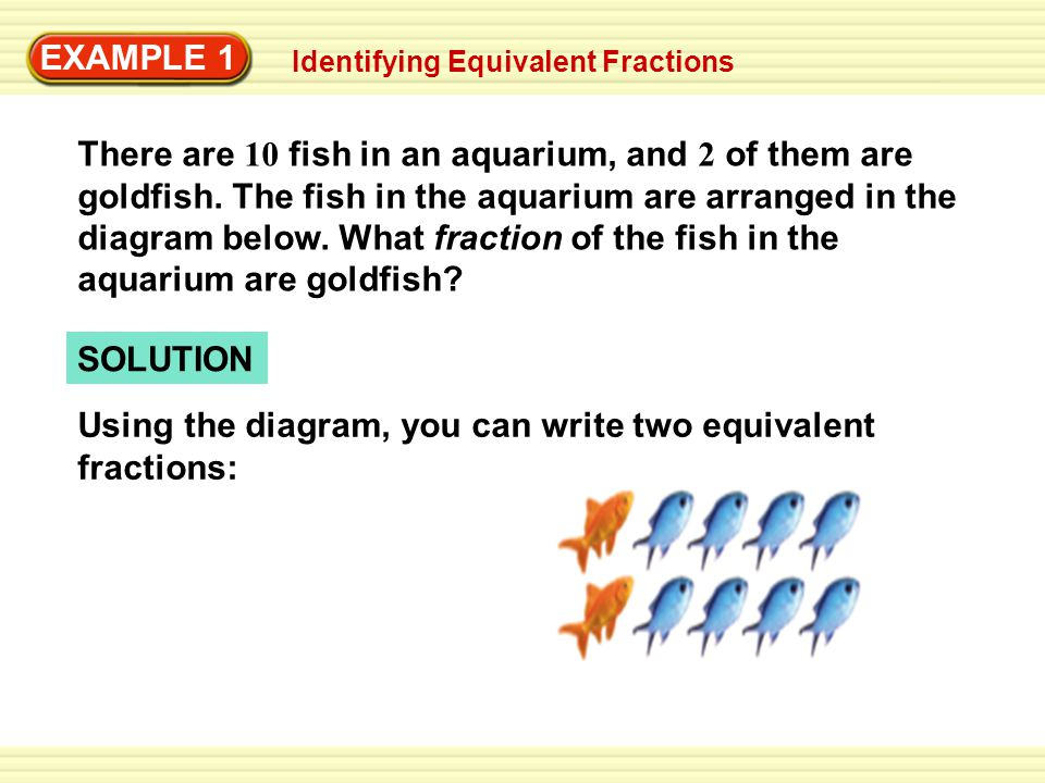Using the diagram, you can write two equivalent fractions: