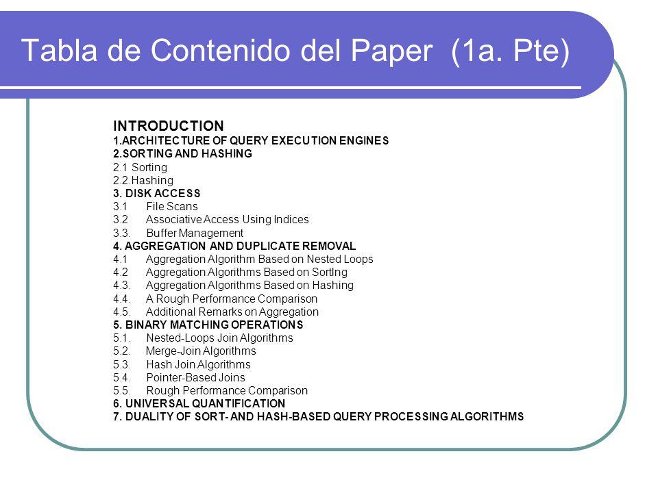 Tabla de Contenido del Paper (1a. Pte)