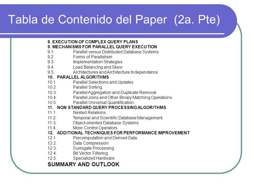 Tabla de Contenido del Paper (2a. Pte)