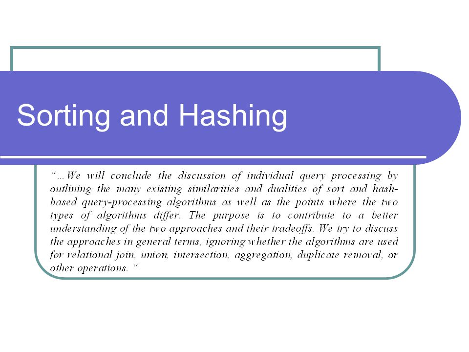 Sorting and Hashing