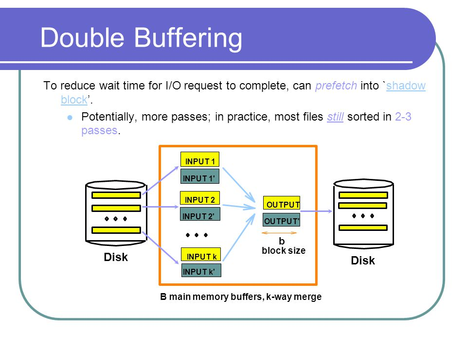 Double Buffering To reduce wait time for I/O request to complete, can prefetch into `shadow block'.