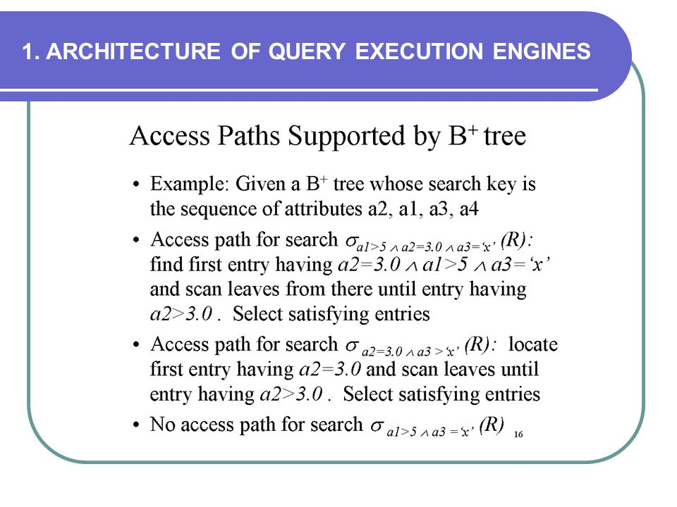 1. ARCHITECTURE OF QUERY EXECUTION ENGINES