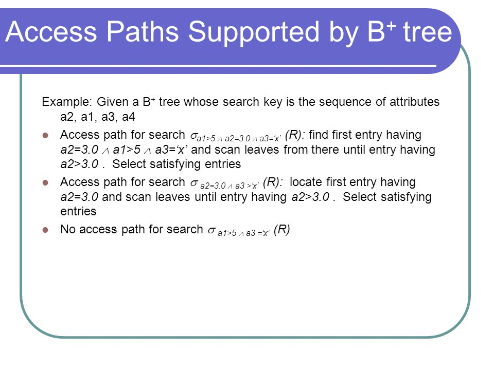 Access Paths Supported by B+ tree