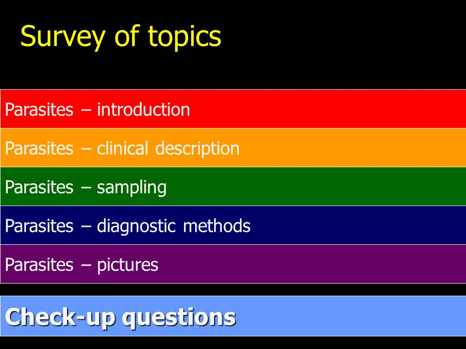 Survey of topics Check-up questions Parasites – introduction