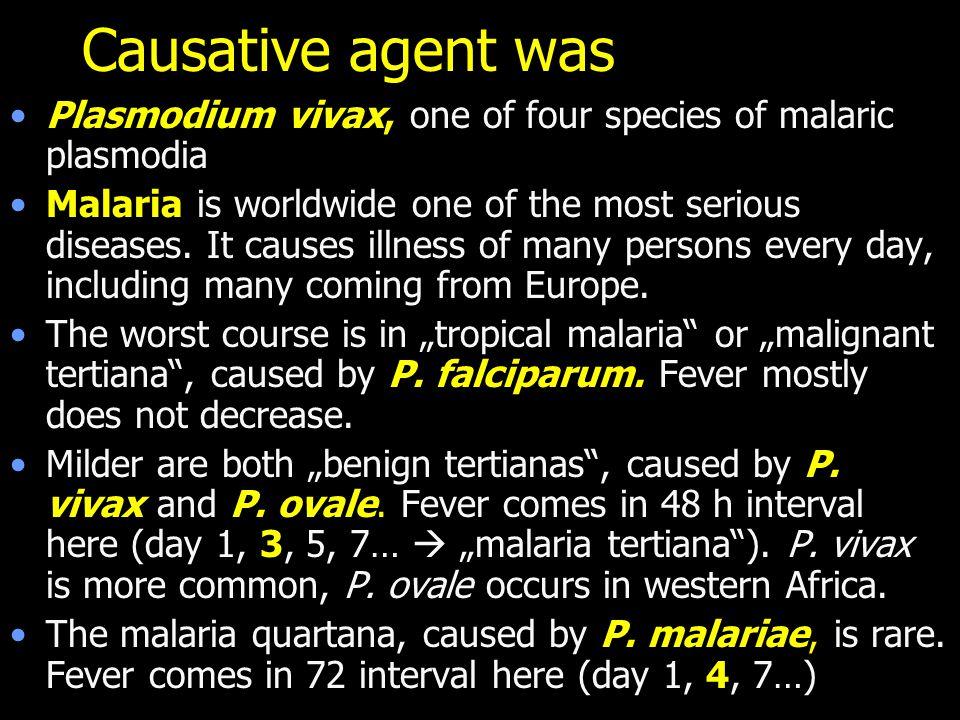 Causative agent was Plasmodium vivax, one of four species of malaric plasmodia.