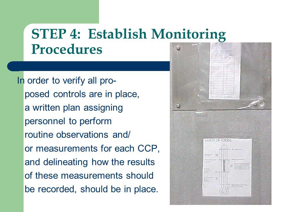 STEP 4: Establish Monitoring Procedures
