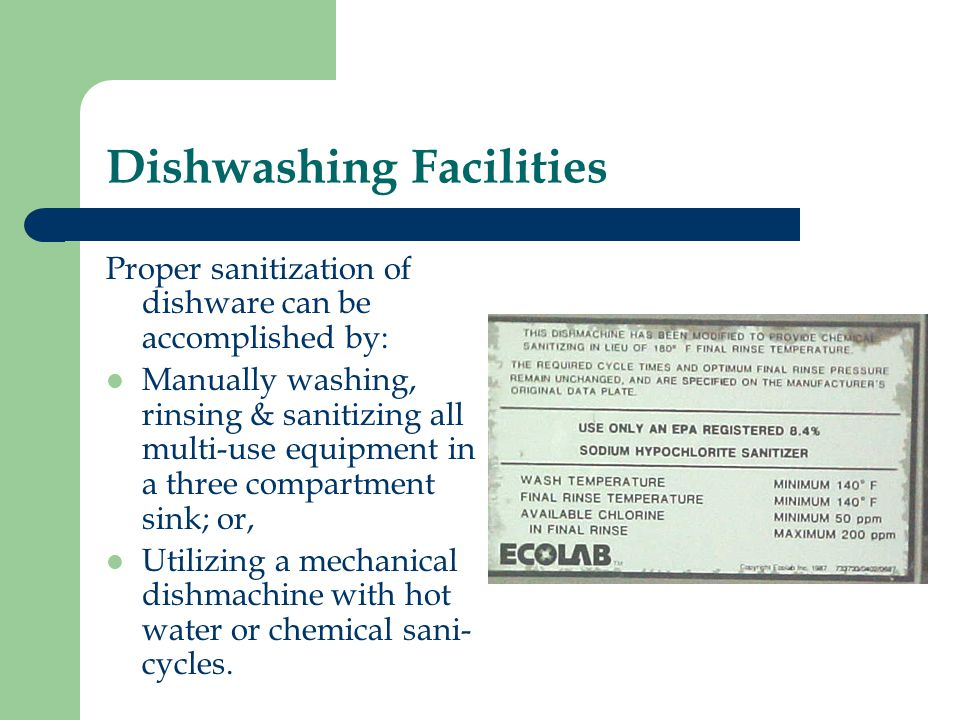Dishwashing Facilities