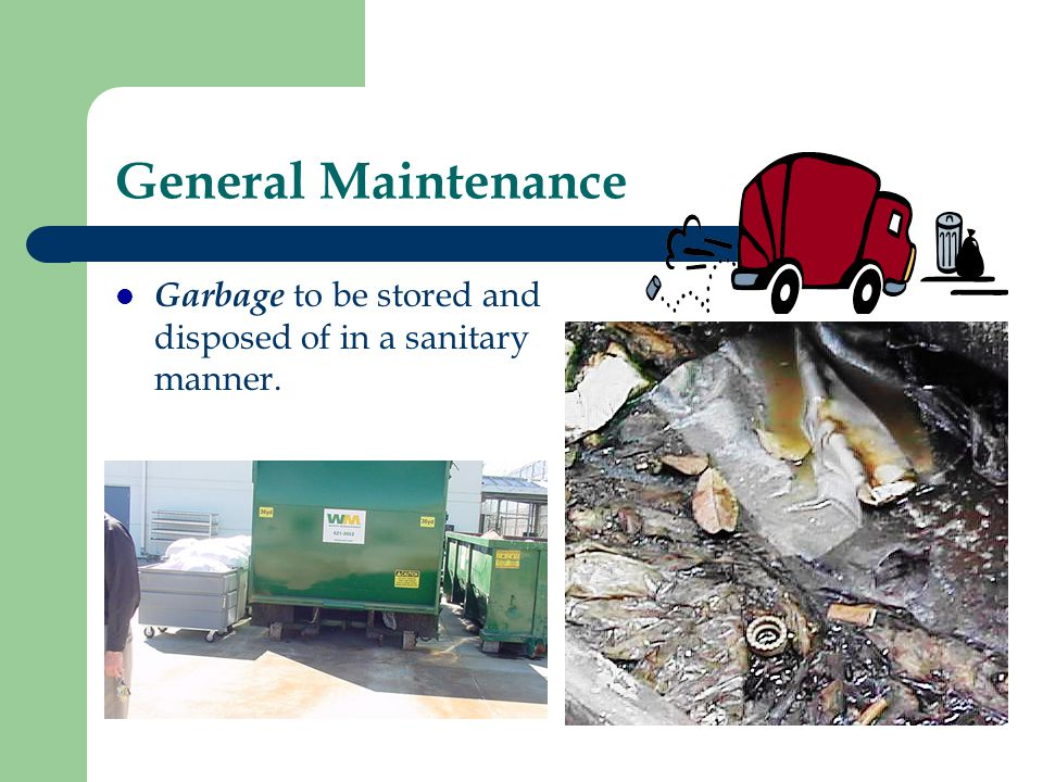 General Maintenance Garbage to be stored and disposed of in a sanitary manner.