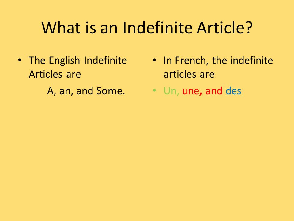 What is an Indefinite Article