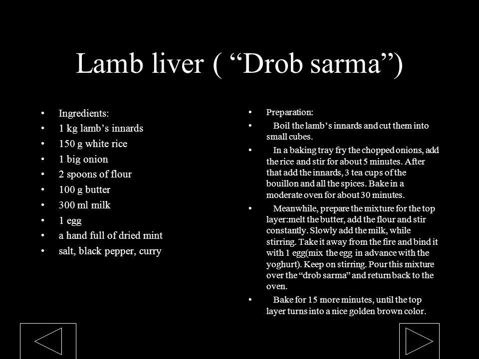 Lamb liver ( Drob sarma )