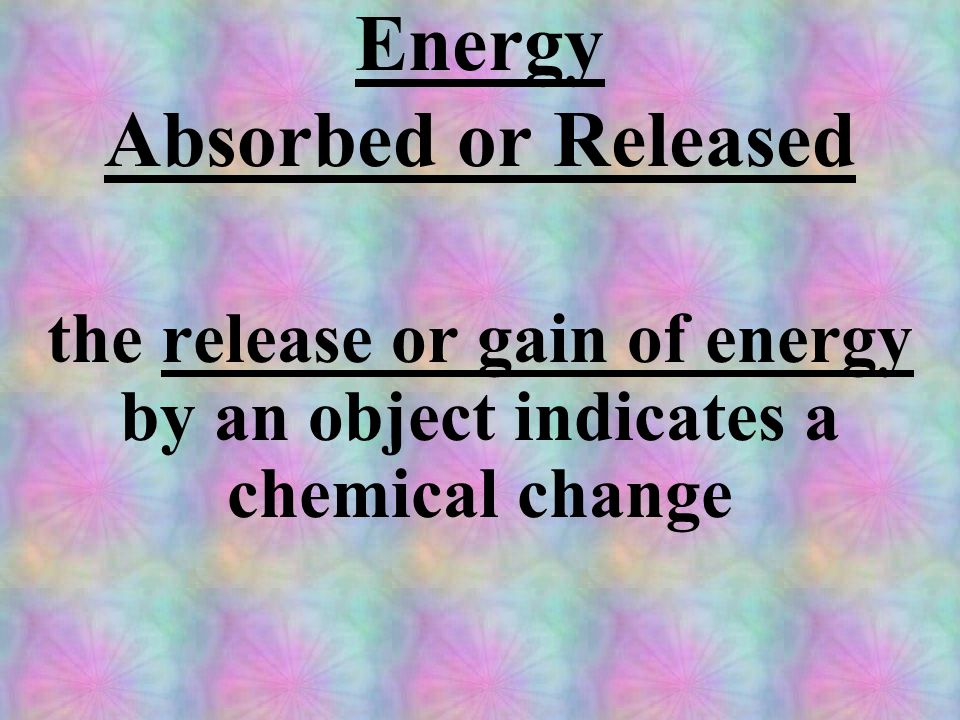 Energy Absorbed or Released