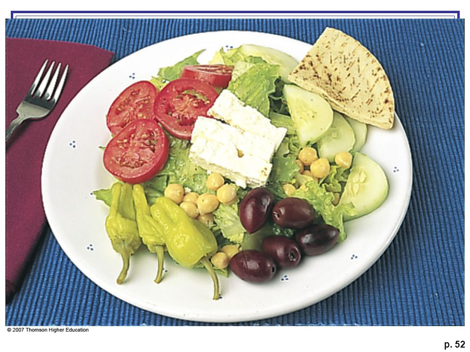 Enjoy a Greek salad topped with garbanzo beans for a little ethnic diversity.