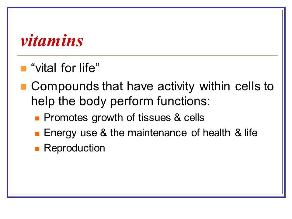 vitamins vital for life