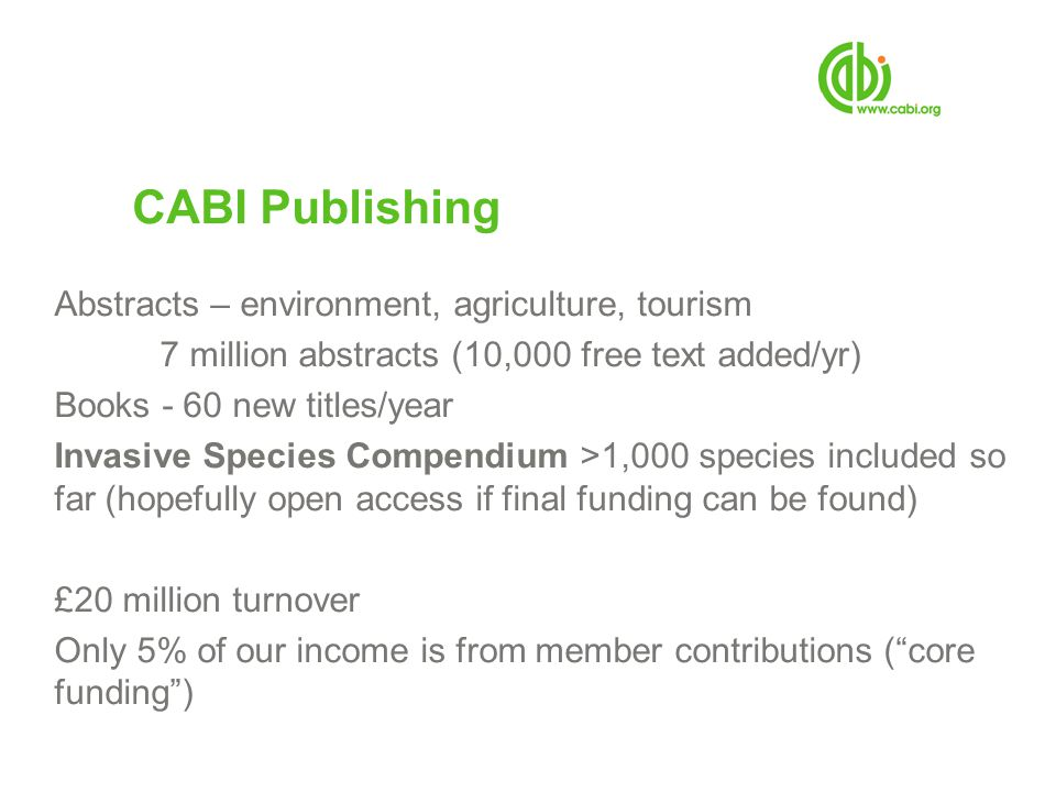 CABI Publishing Abstracts – environment, agriculture, tourism