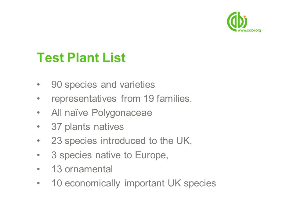 Test Plant List 90 species and varieties