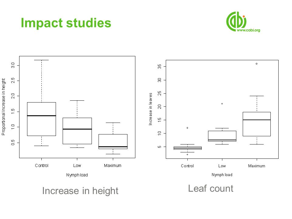 Impact studies Leaf count Increase in height