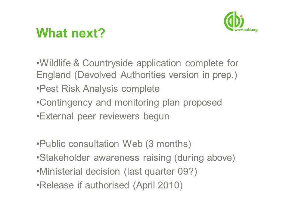 What next Wildlife & Countryside application complete for England (Devolved Authorities version in prep.)