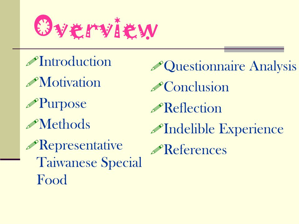 Overview Introduction Questionnaire Analysis Motivation Conclusion