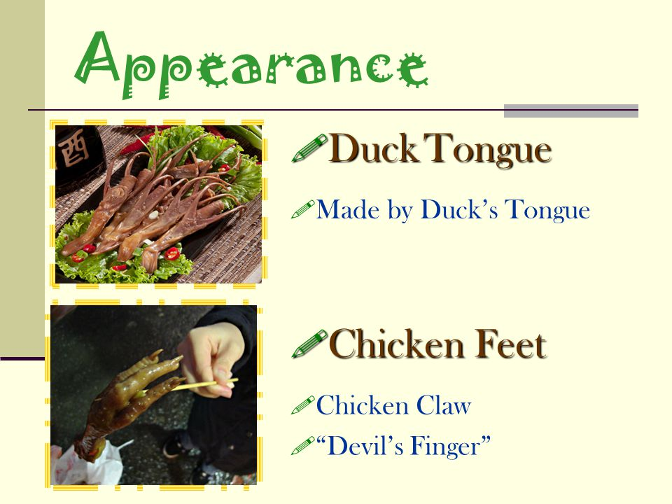 Appearance Duck Tongue Chicken Feet Made by Duck's Tongue Chicken Claw