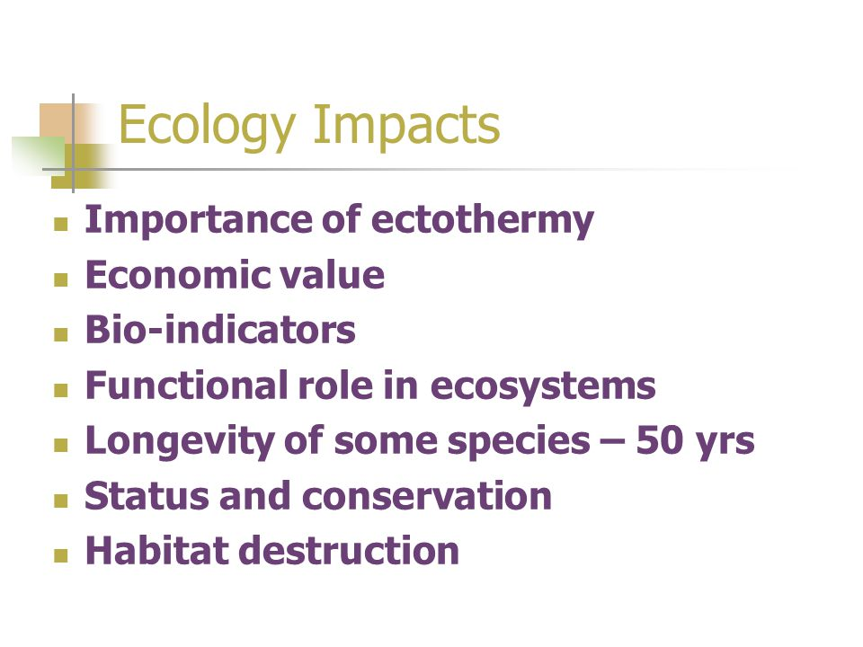 Ecology Impacts Importance of ectothermy Economic value Bio-indicators