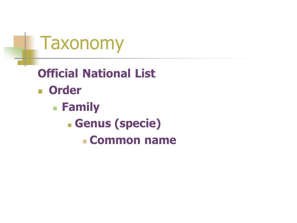 Taxonomy Official National List Order Family Genus (specie)