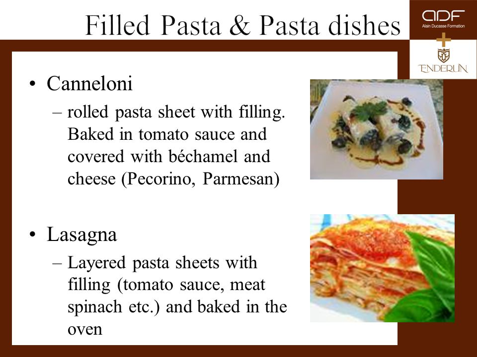 Filled Pasta & Pasta dishes