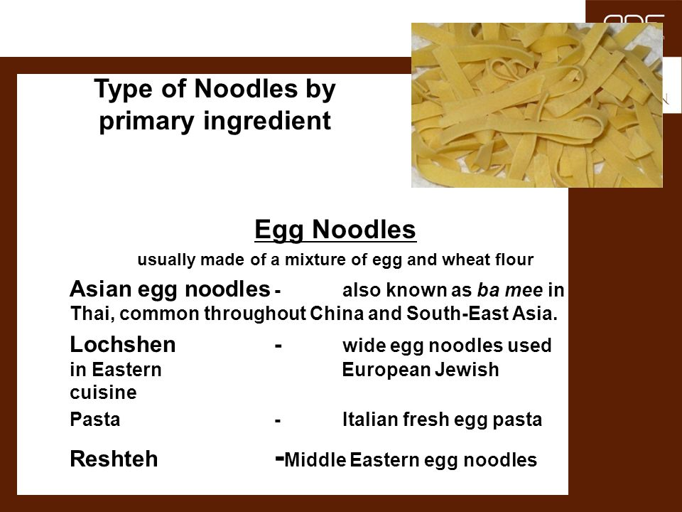 Egg Noodles Type of Noodles by primary ingredient