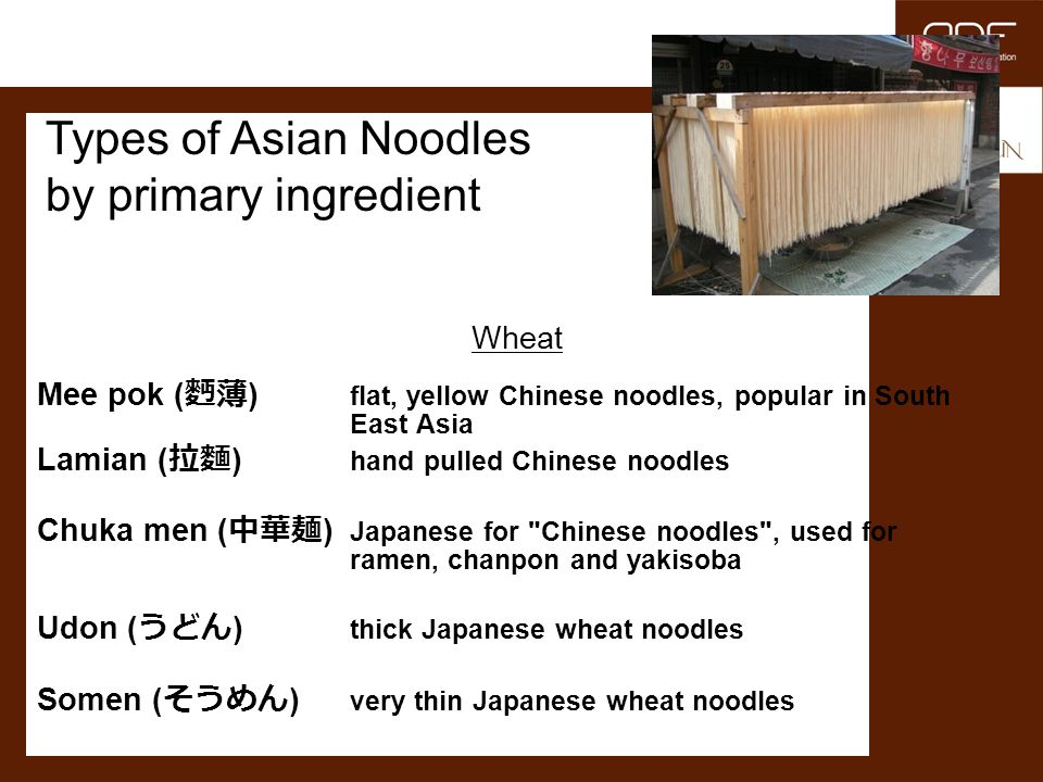 Types of Asian Noodles by primary ingredient