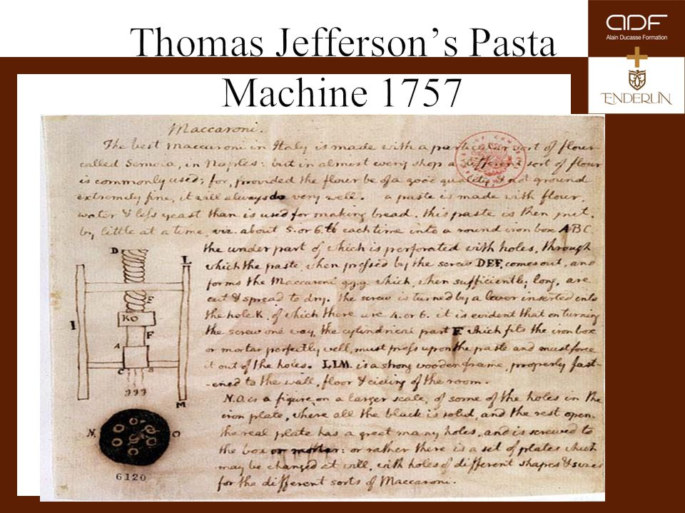 Thomas Jefferson's Pasta Machine 1757