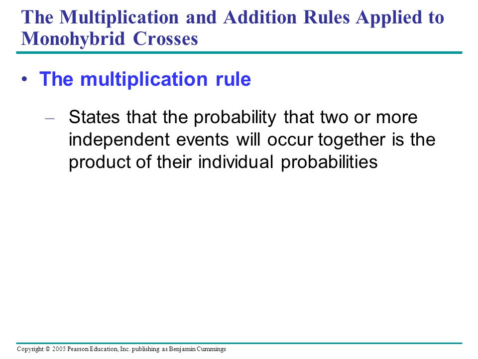 The Multiplication and Addition Rules Applied to Monohybrid Crosses