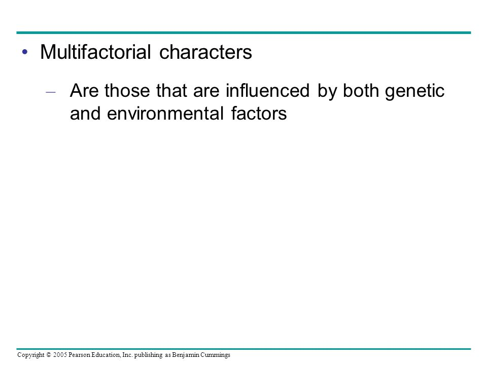 Multifactorial characters