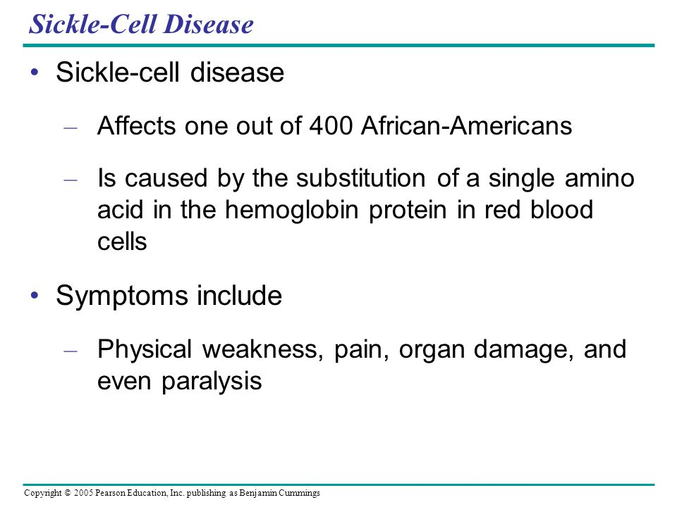 Sickle-Cell Disease Sickle-cell disease Symptoms include