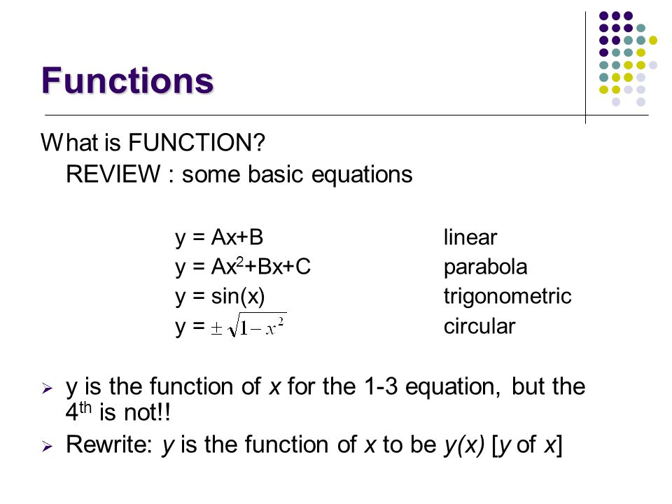 Functions What is FUNCTION REVIEW : some basic equations