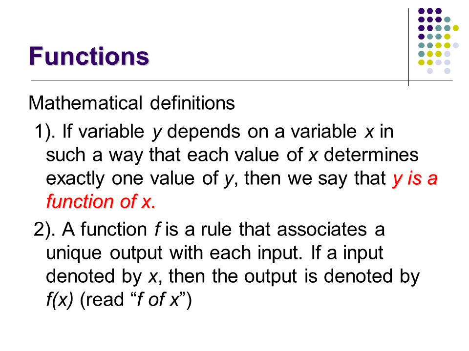 Functions Mathematical definitions