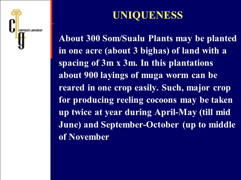 UNIQUENESS About 300 Som/Sualu Plants may be planted