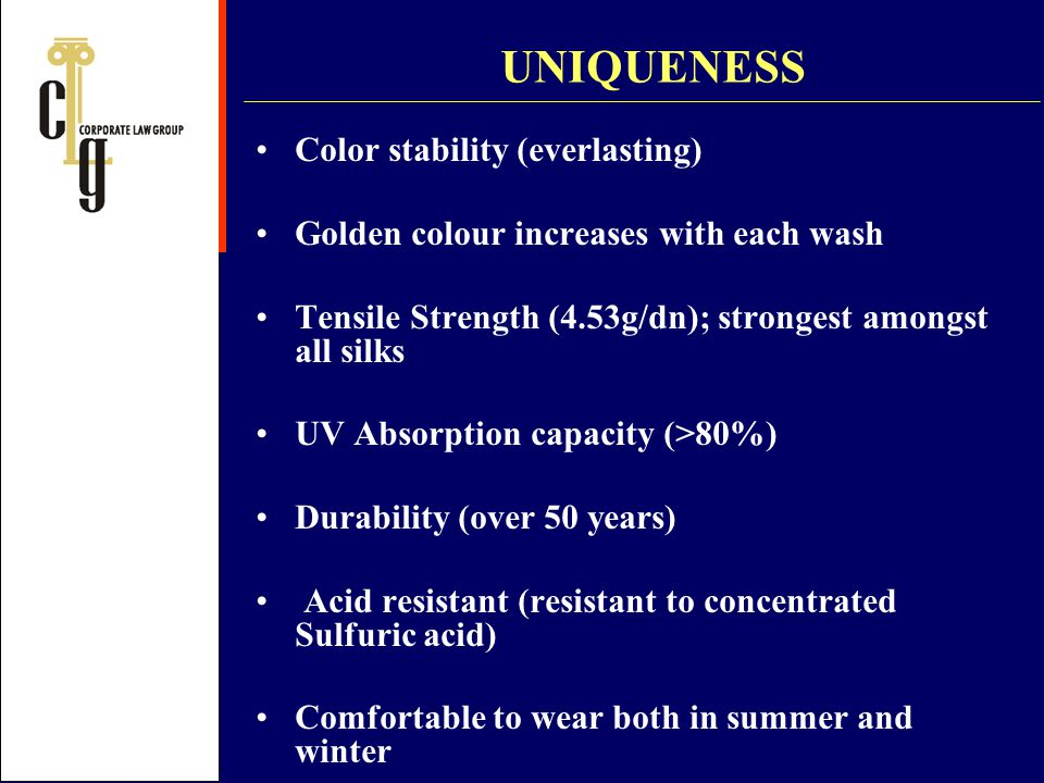 UNIQUENESS Color stability (everlasting)