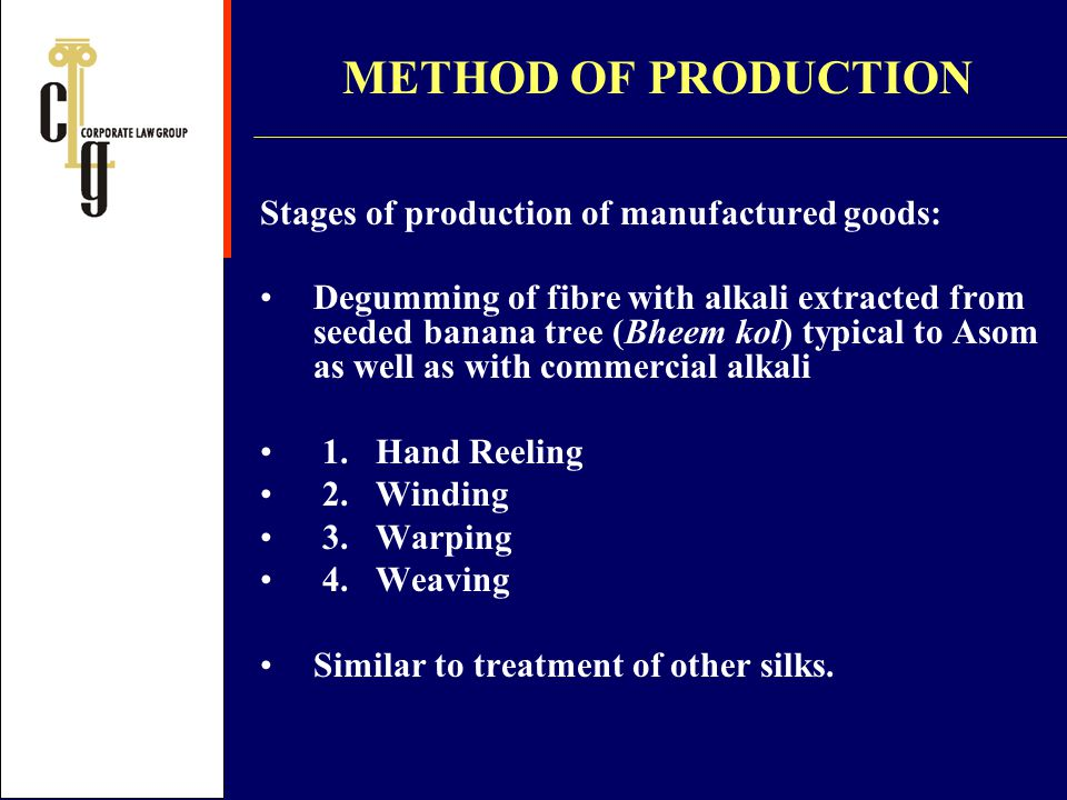 METHOD OF PRODUCTION Stages of production of manufactured goods: