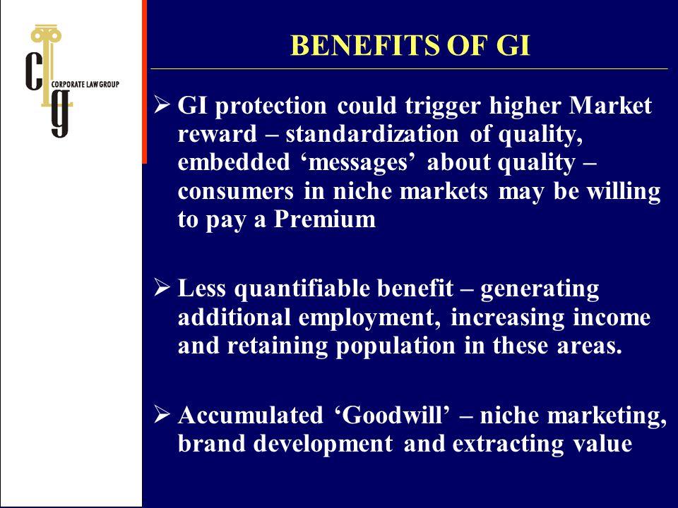 BENEFITS OF GI