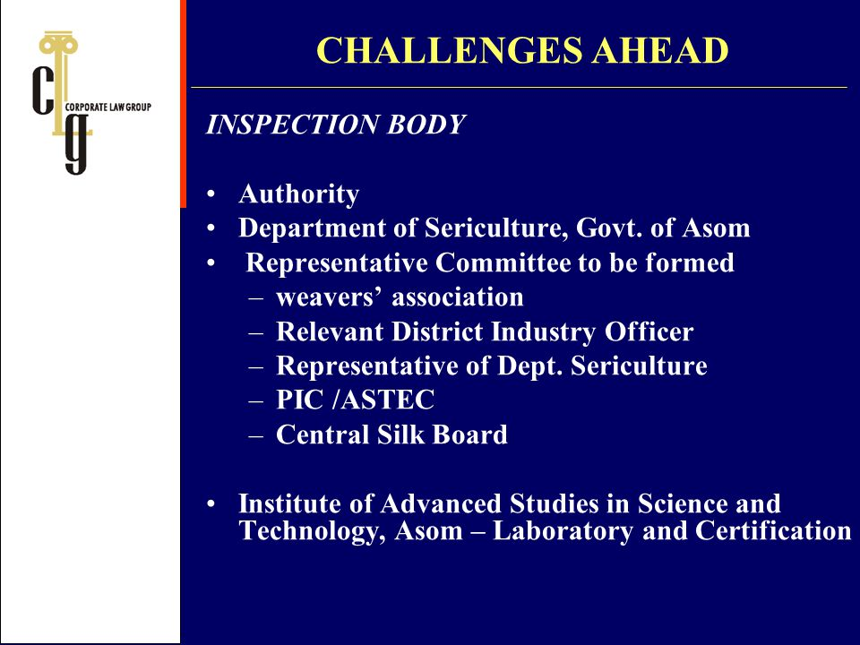 CHALLENGES AHEAD INSPECTION BODY Authority