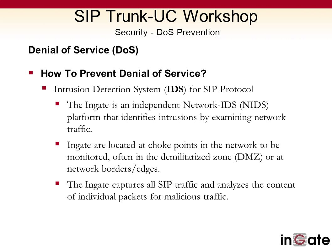 SIP Trunk-UC Workshop Security - DoS Prevention