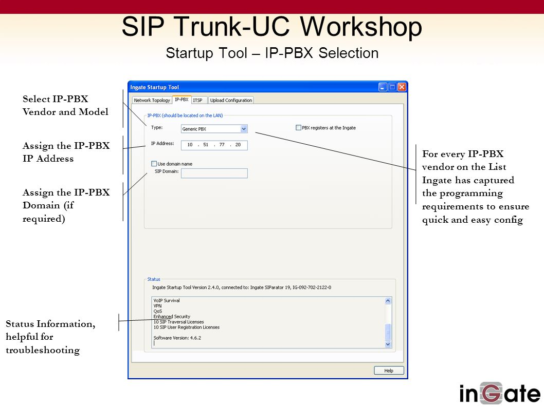 SIP Trunk-UC Workshop Startup Tool – IP-PBX Selection