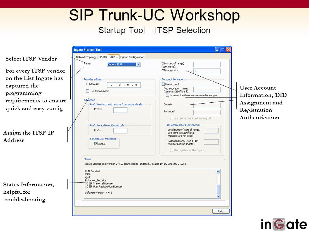 SIP Trunk-UC Workshop Startup Tool – ITSP Selection