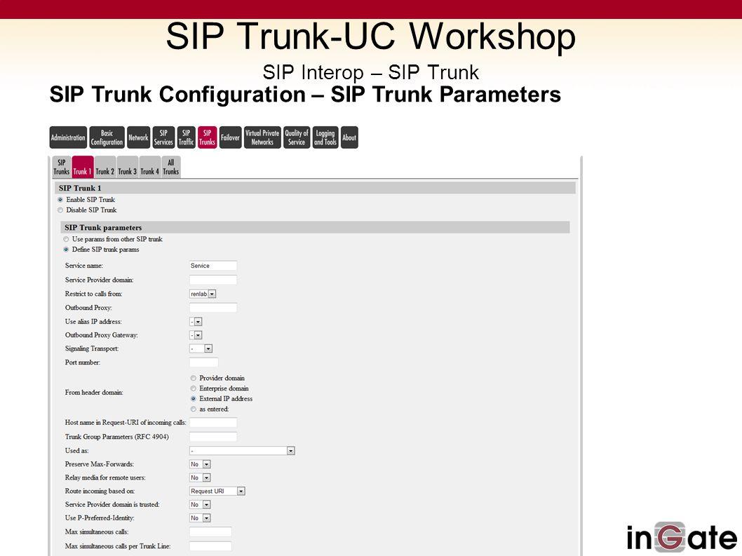 SIP Trunk-UC Workshop SIP Interop – SIP Trunk