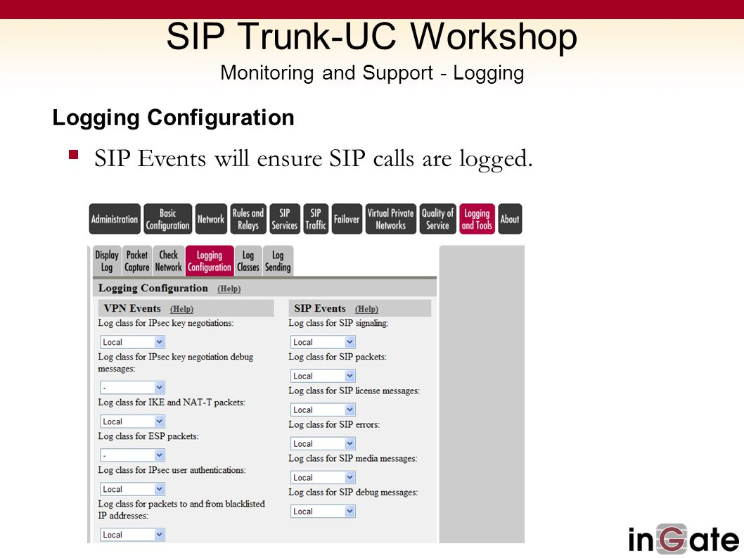 SIP Trunk-UC Workshop Monitoring and Support - Logging