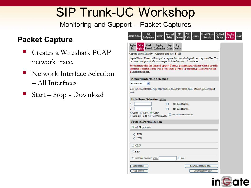 SIP Trunk-UC Workshop Monitoring and Support – Packet Captures