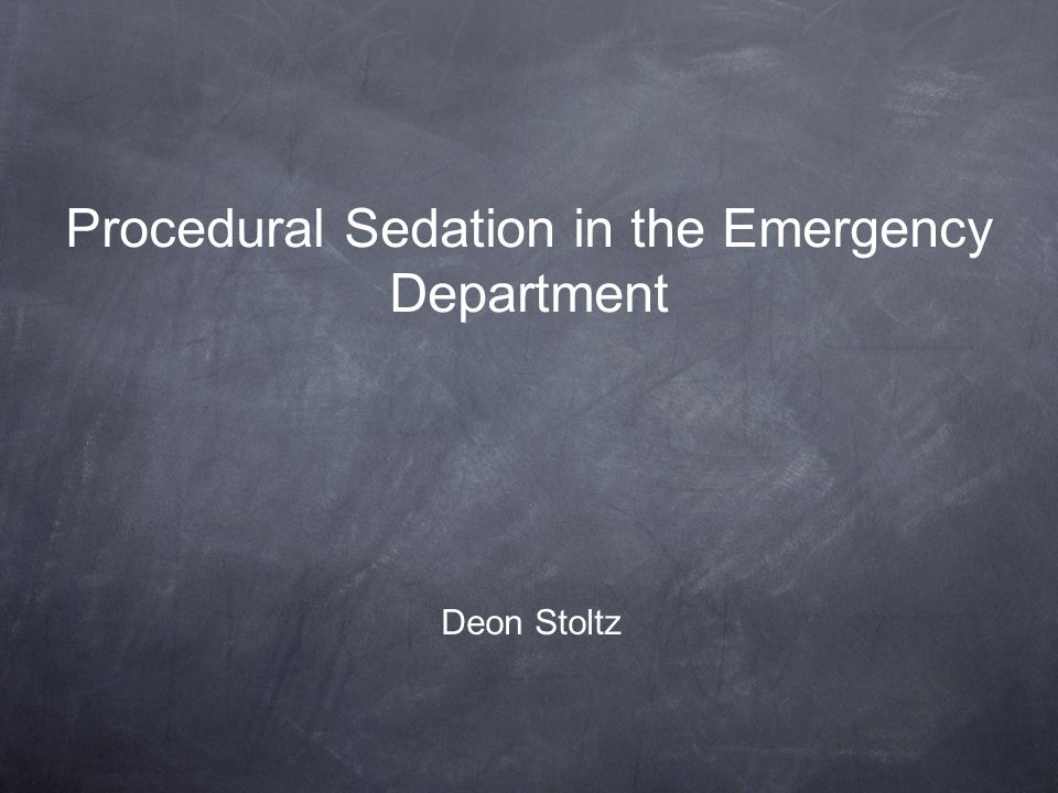 Procedural Sedation in the Emergency Department