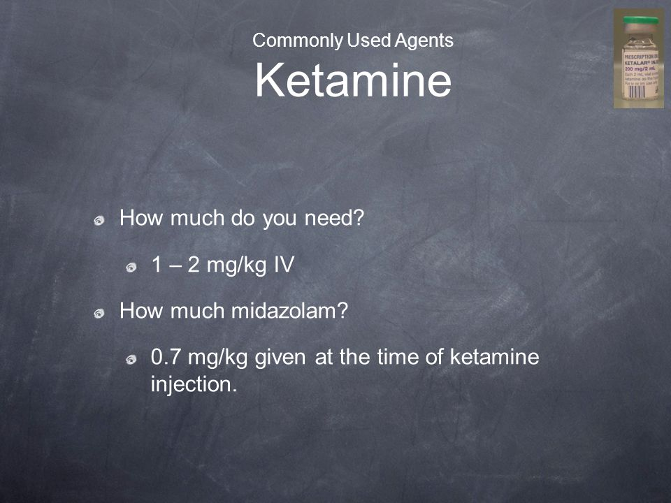 Commonly Used Agents Ketamine
