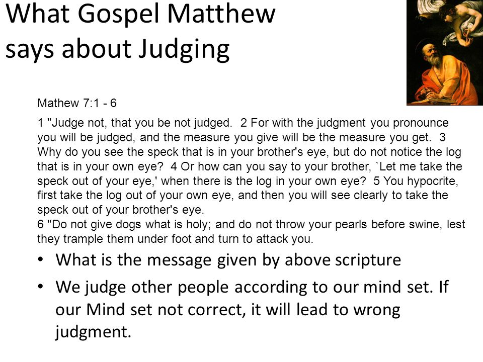 What Gospel Matthew says about Judging