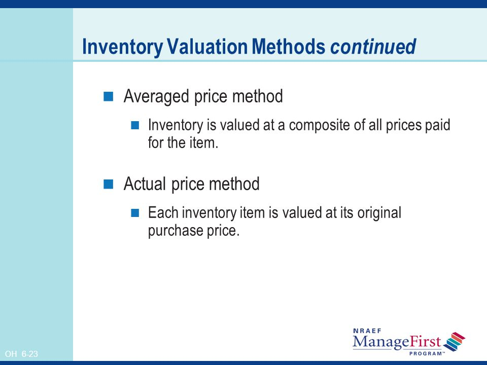 Inventory Valuation Methods continued