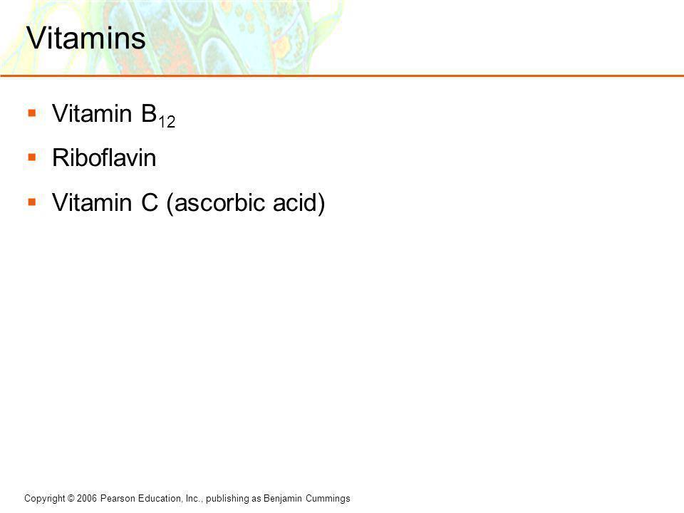 Vitamins Vitamin B12 Riboflavin Vitamin C (ascorbic acid)